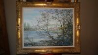 CASTLE-LARGE ORIGINAL OIL PAINTING; indistinctly signed