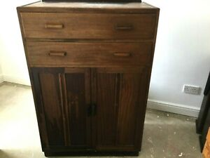 Utility Retro Tall Boy Cabinet With 2 Drawers 1940/50s Utility Furniture