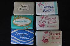 Lot of Six Vintage Mini Hotel Soap Bars Cashmere Bouquet Floral Cameo Pink
