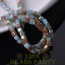 100pcs 4mm Cube Square Faceted Crystal Glass Loose Spacer Beads Jade Blue&Orange