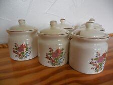 NOS vintage set 6 Condiment mustard spyces jars w lids porcelain Japan rare