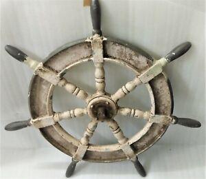 OLD SALVAGED RARE NAUTICAL MARINE ANTIQUE SHIP STEERING ALUMINIUM WHEEL  1 PCS