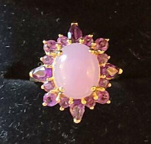 Lavender Jade & Amethyst 14k gold cocktail Ring size 7