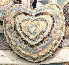 Shabby Chic Ruffle Cushion Pillow Heart Pink Cream Blue Black