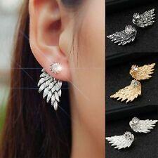 Engelsflügel Ohrringe Gold Silber Grau Zirkonia Strass Ohrstecker Ear-Cuff Stud