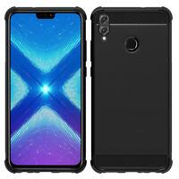 "Coque Etui Silicone Souple Fibre Carbone Brossé pour Huawei Honor 8X 6.5"""