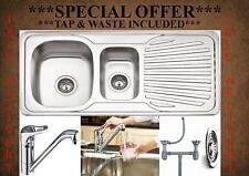 Double 1.5 Bowl Stainless Steel Reversible Kitchen Sink + Plumbing Kit & Tap Inc