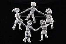 STERLING BOYS & GIRLS PLAYING RING AROUND THE ROSIE BROOCH 925 VINTAGE 3681