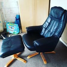 Retro Vintage IKEA Black Lazy Boy Leather Lounge Chair Seat & Foot Stool - 80's