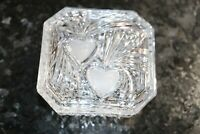 Oneida Crystal Glass Etched Trinket Box Pin Hair Accessory Dish w/ Two Hearts on