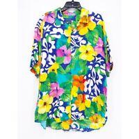 Jams World Men Hawaiian Shirt Multicolor Green Floral Short Sleeve Pocket XL 90s