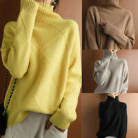 Womens Warm High Collar Knitted Sweater Tops Loose Pullover Jumper Winter Blouse