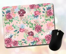 Flower Mouse Pad • Watercolor Assorted Floral Pattern Gift Decor Desk Accessory