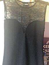 Diseñador ASOS bastante pequeño vestido negro con detalle de encaje Talla 6 Reino Unido Nuevo