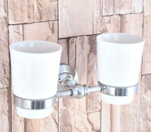 Polished Chrome Silver Bathroom Toothbrush Holder + Two Ceramic Cups 2ba798