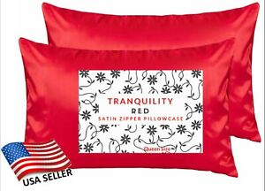 2 Red Satin Pillowcase Zipper Closure Standard Queen Super Soft USA Seller