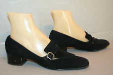 7.5 AA BLACK SUEDE Vtg 60s MOD CHUNKY HEEL KILTIE LOAFER SPACE AGE COBBIES SHOE