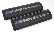 Car Seat Belt Shoulder Pads Covers BMW Motorsport Black Leather Embroidery Logo