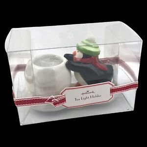 Hallmark Ceramic Tea Light Holder Christmas Penguin - New in Box - 5.5 Inch Wide