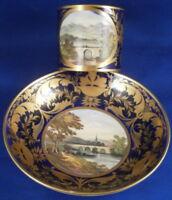 Antique 1800 Derby Porcelain Scenic Cup & Saucer Porzellan Tasse English England