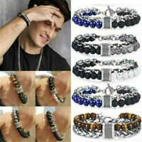 Men's Trendy Tiger Eye Beads And Stainless Steel Bracelet Male Jewellery Gift
