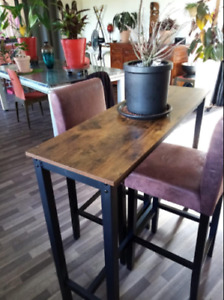 Industrial High Bar Table Vintage Kitchen Breakfast Rustic Narrow Tall Dining
