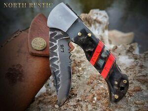 Ram Horn Red Turquoise Folding Pocket Knife Belt Clip Stag NR13-3