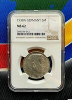 NGC MS 62 1938 A  5 Mark WW2 German Silver Coin Third Reich Swastika Reichsmark