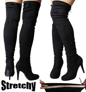 Sexy Black Over the Knee High Boots Stretch Thigh Wide Fit Calf Stiletto Heel