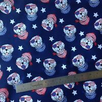 "Dogs bandana print patriotic  cotton fabric , by FQ , 18"" x 22"", 4th July mask"