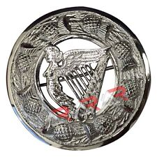 "Scottish Fly Plaid Kilt Brooch Harp Badge Chrome Finish 3"" (7cm) diameter"