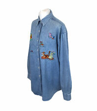 More details for vintage the disney store winnie the pooh embroidered denim shirt blue sz xl