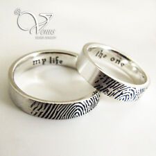 Set of 2 Fingerprint Engraved Rings- Handwriting Ring-Promise Ring- Couple Rings