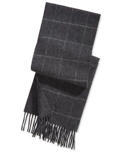 Polo Ralph Lauren Men's Reversible Windowpane Plaid Scarf Charcoal Gray NEW $95