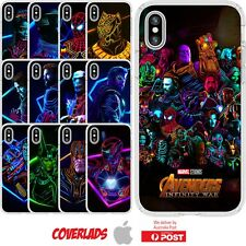 iPhone Silicone Cover Case Marvel Avengers Infinity Wars Glow Hero - Customlads
