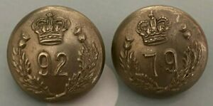 2x Victorian British Officers Tunic Buttons 79th & 92nd Highlanders