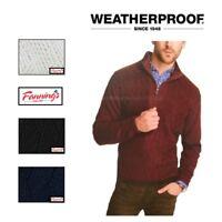 MEN'S WEATHERPROOF VINTAGE MOCK NECK 1/4 ZIP SWEATER 100% Cotton VARIETY F24