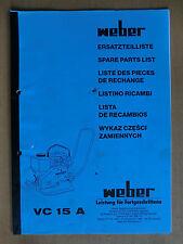 Ersatzteilliste Weber VC 15 A Verdichter Rüttelplatte Spare Parts List Listino