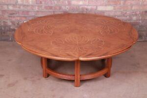 John Widdicomb MCM Hollywood Regency Inlaid Walnut Coffee Table, Refinished
