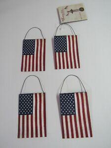 Bethany Lowe Set of 4 Americana Tin Flag Ornaments TF5102 New
