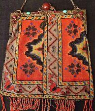1800's ANTIQUE VICTORIAN MICRO BEADED PURSE Native Persian Carpet Design Jewels