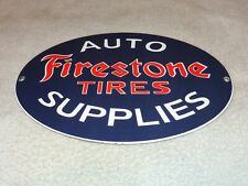 "VINTAGE FIRESTONE TIRES AUTO SUPPLIES 11 3/4"" PORCELAIN METAL GASOLINE OIL SIGN!"