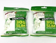 2 X 300 Palmer Slim Menthol Cigarette Filter Tips 600 Tips Resealable
