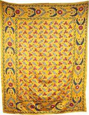 Antico fatto a mano seta uzbeko decori in tessuto/Ricami in Oro Taglia 6.2'x5'
