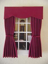 MINIATURE  DOLL HOUSE 12TH SCALE CURTAINS DRAPES PLAIN BURGUNDY 6 1/2 IN LONG