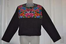 vtg GUATEMALA folk Art Mexican FLORAL embroidered Huipil type hippie JACKET m