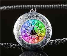 Flower of Life chakra Cabochon Glass Tibet Silver Locket Pendant Necklace