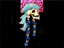 Pirates Charm Woman Brooch Pin Betsey Johnson Blue Rhinestone Skull