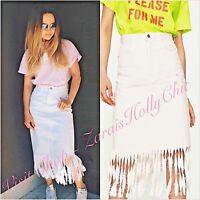 Zara White Fringe Frayed Midi Denim Skirt Size S UK 8/10 US 4/6 Blogger ❤