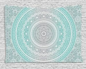 Ambesonne Grey and Aqua Tapestry, Ombre Traditional Universe with Tribal